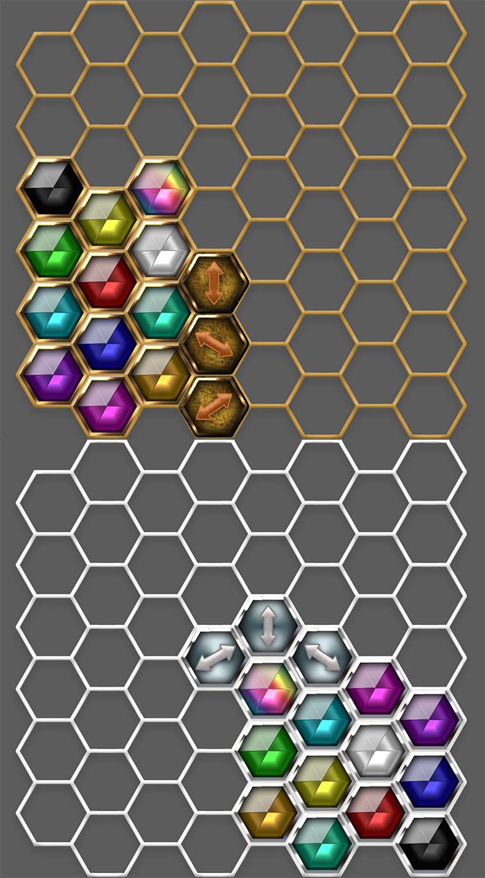 Hexagon Gold and Silver Match Set