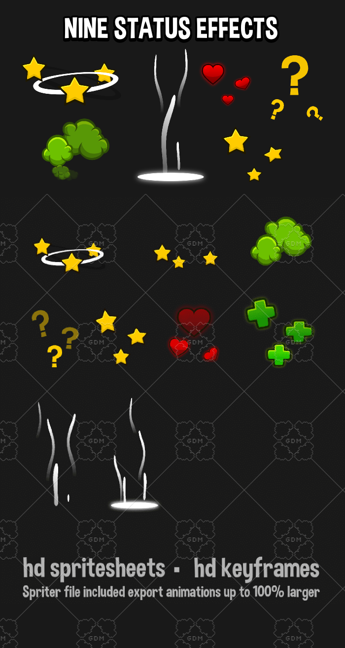 Nine status animated status effects for 2d game development