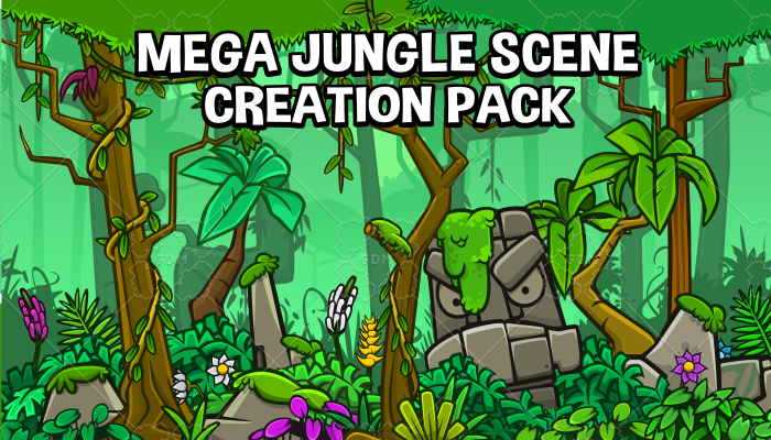 Mega jungle scene construction 2d game asset pack