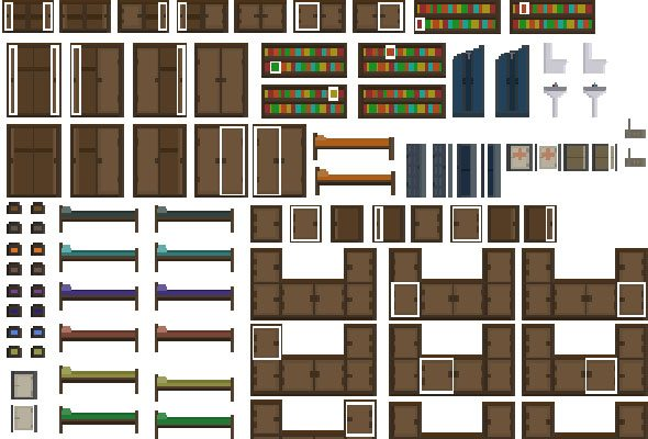 2D Minimalism Pixel-art furniture sprites