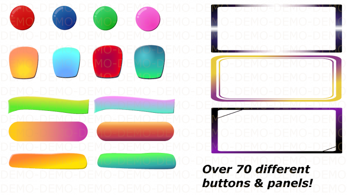 GUI Buttons & Panels pack + Templates