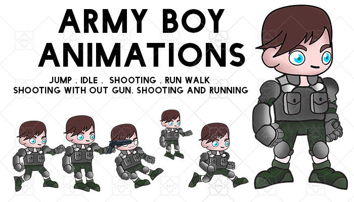 ARMY BOY CARACTER SPRITE 4 ANIMATIONS .PNG HD QUALITY