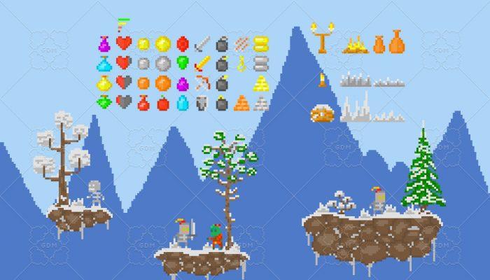 Pixel Platformer Asset Pack (Medieval snow theme)
