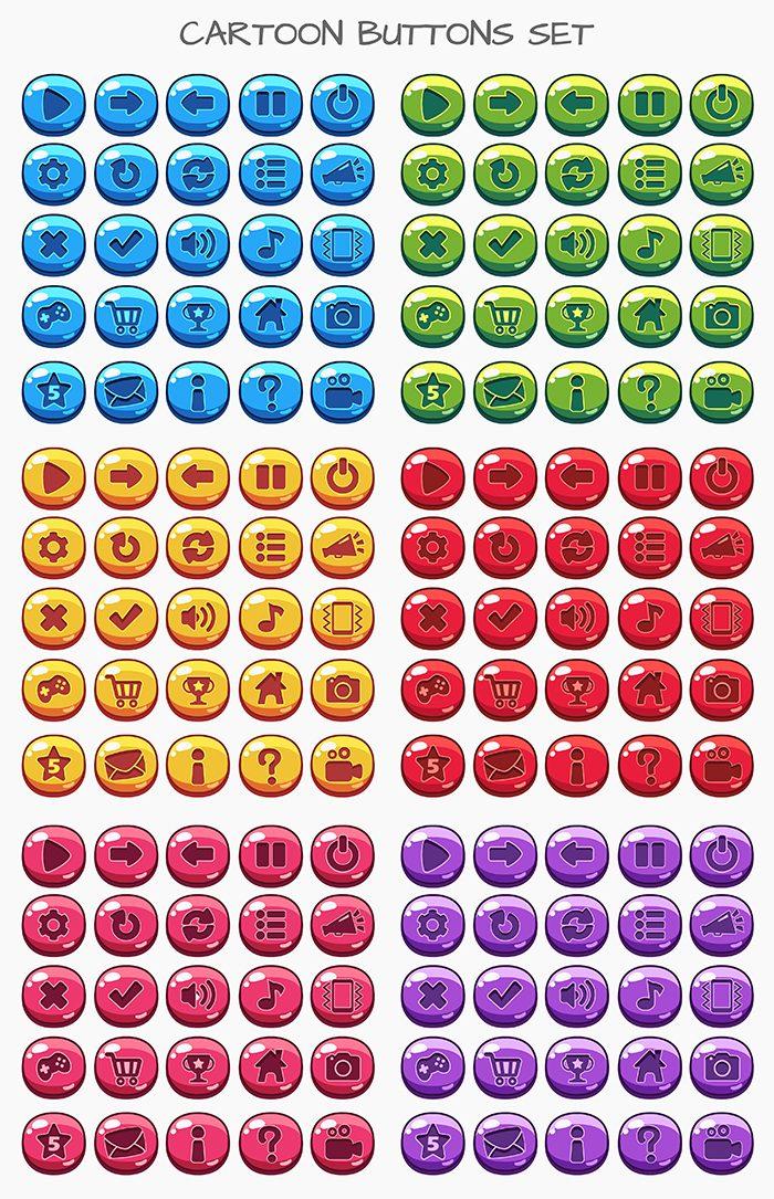 Cartoon buttons game set