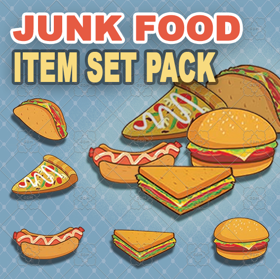 Junk Food Item set pack and Simple Background