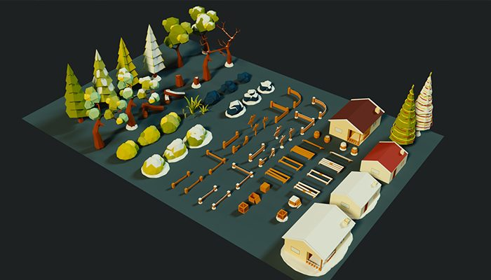 Cartoon Country side exterior Low Poly 3D Model
