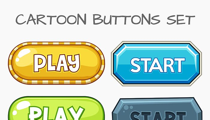 Cartoon buttons game set