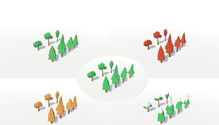 Low Poly Seasons Trees