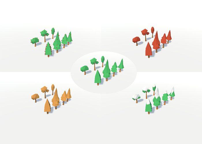 Low Poly Seasons Trees
