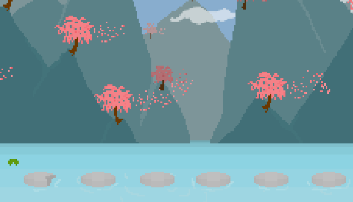 Pixel Cherry Blossom Background