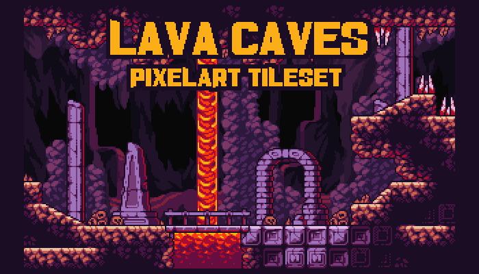 Lava Caves – Fantasy Pixel Art Tileset