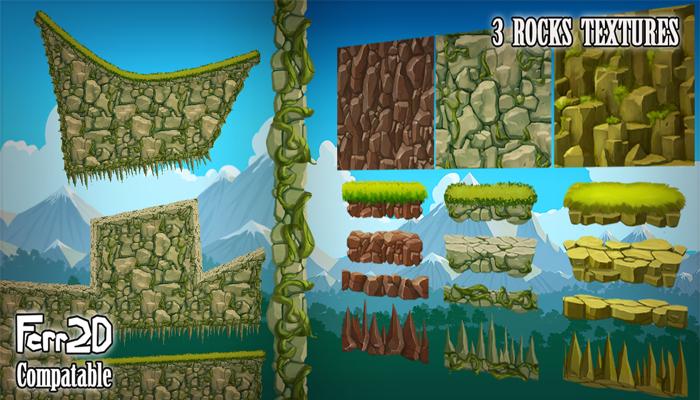 2D Platformer Tiling Textures – Rocks