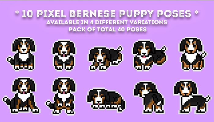 2D pixel – Cute Puppy (Bernese) // Pepper's Art