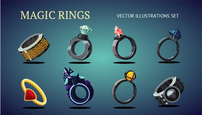 Magic rings vector set