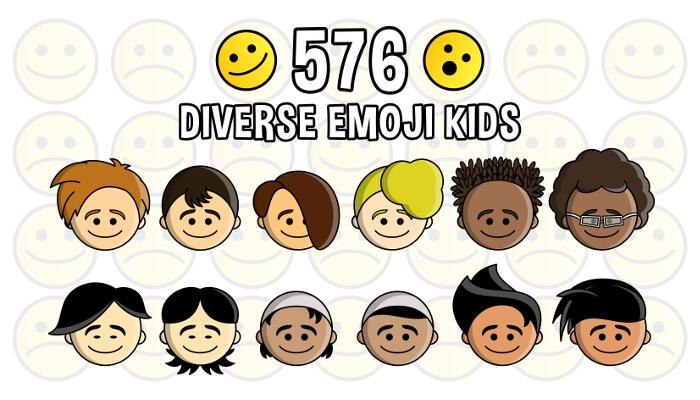 Diverse Kids Emoji Emotion Faces Pack (PartyHead Kiddos)