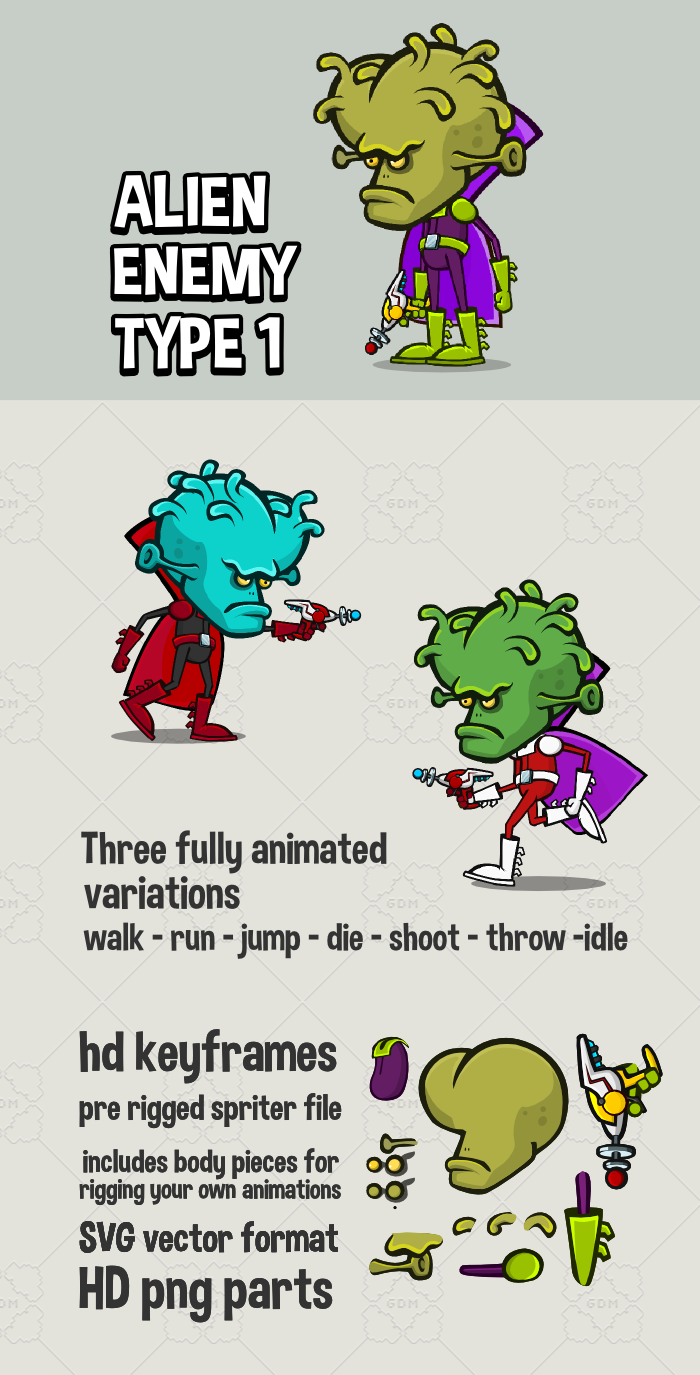Alien enemy 2d game character
