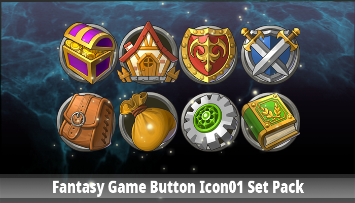 Fantasy Game Button Icon01 Set Pack