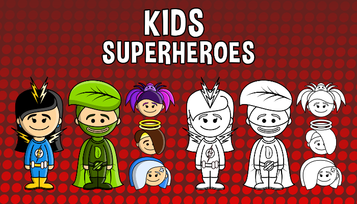 Kids – Superheroes Pack (PartyHead Kiddos)