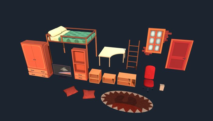 Lowpoly stylized room asset