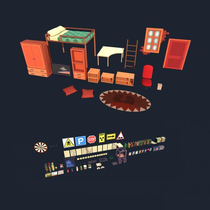 Lowpoly stylized room asset