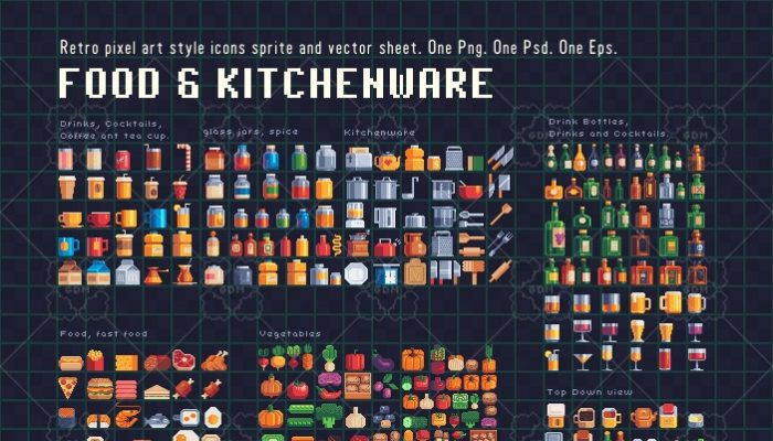 Food and Kitchenware Pixel art icons.