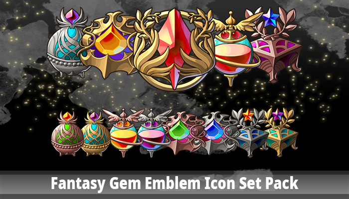 Fantasy Gem Emblem Icon Set Pack