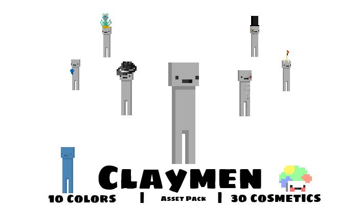 Claymen (Pixel Character + 10 Color Variations + 30 Cosmetics)