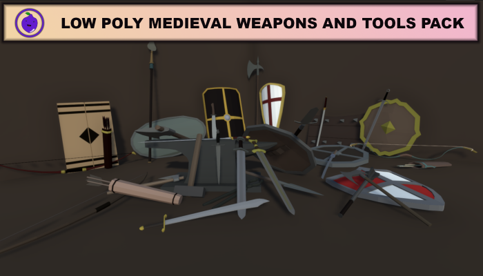 Low Poly Medieval Weapons And Tools Pack
