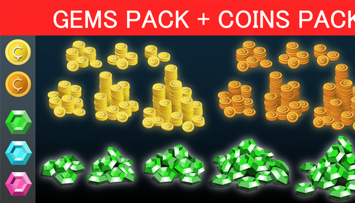 Money Pack – Coins, Crystals, Diamonds icons for IAP