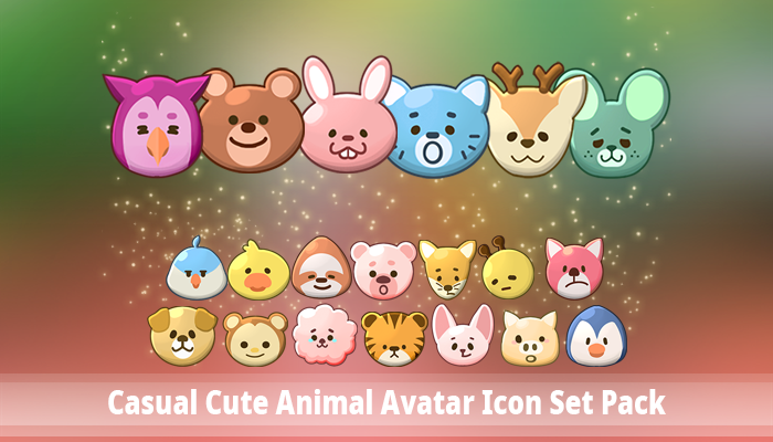 Casual Cute Animal Avatar Icon Set Pack