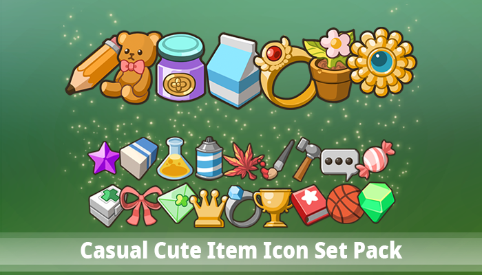 Casual Cute Item Icon Set Pack