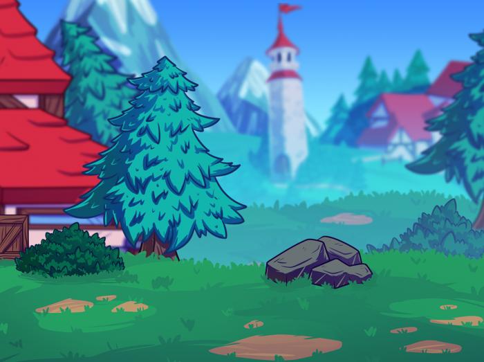 2D Fantasy Village Background