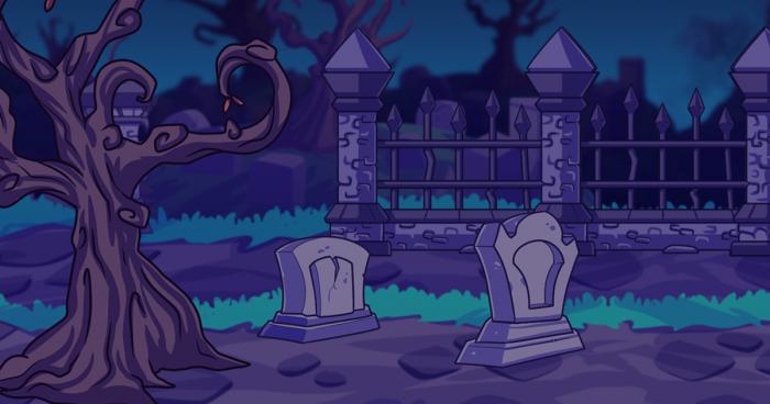 2D Fantasy Graveyard Background