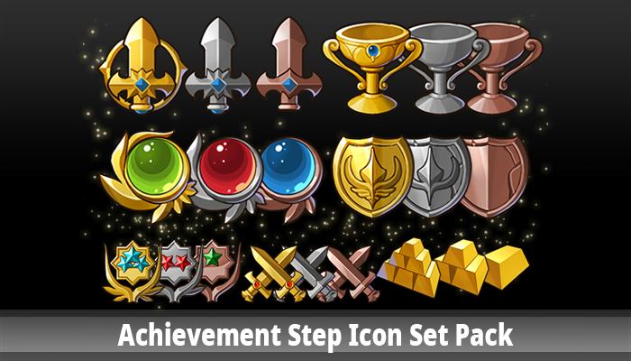 Achievement Step Icon Set Pack