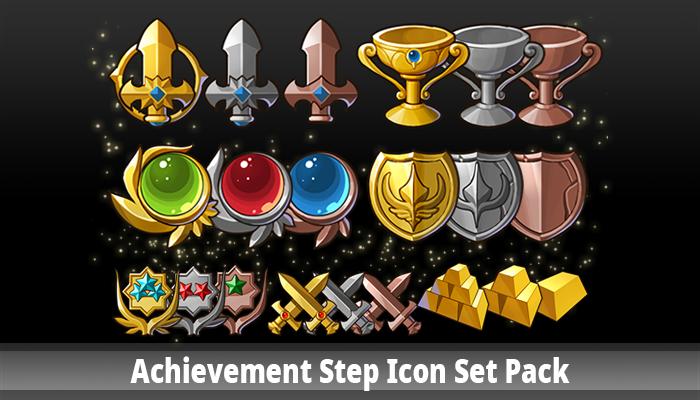 Achievement Step Icon Set Pack