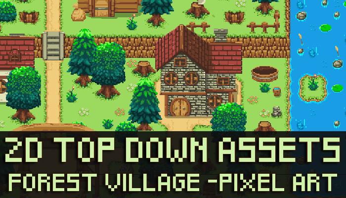 Top down Forest Village Pixel Art