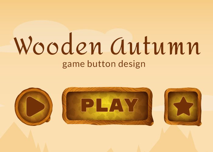 Wooden Autumn Game Buttons Design