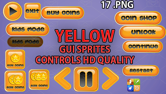 YELLOW hud GUI hd quality 17 .png files