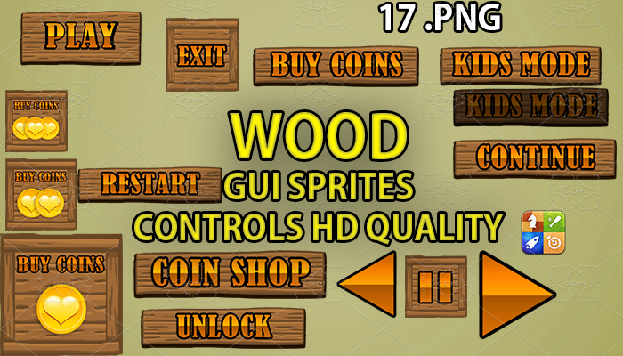 WOOD hud GUI hd quality 17 .png files