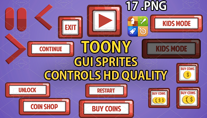 TOONY hud GUI hd quality 17 .png files