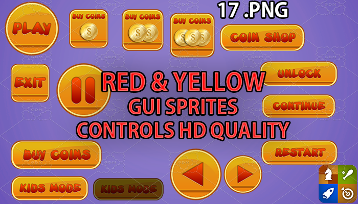 RED AND YELLOW hud GUI hd quality 17 .png files
