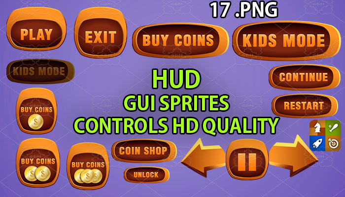 choclate hud GUI hd quality 17 .png files