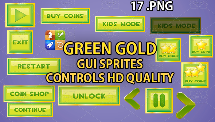 GREEN GOLD hud GUI hd quality 17 .png files