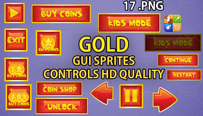 GOLD hud GUI hd quality 17 .png files