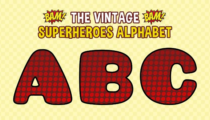 Assets For Children´s Games – The Vintage Superheroes Alphabet (ENG-SPAN.)