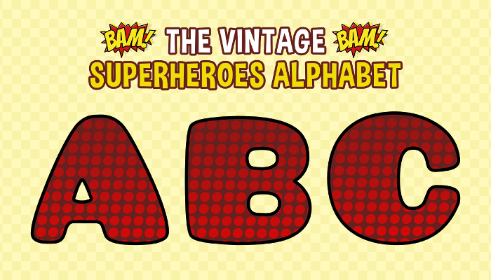 Assets For Children´s Games – The Vintage Superheroes Alphabet (ENG-SPAN.)
