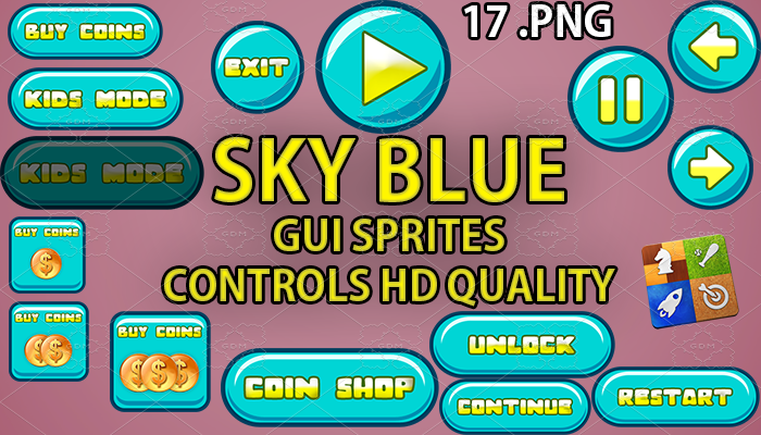 skyblue hud GUI hd quality 17 .png files