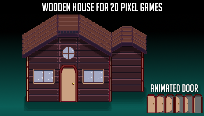 Wooden House with Animated Door – Pixel Art