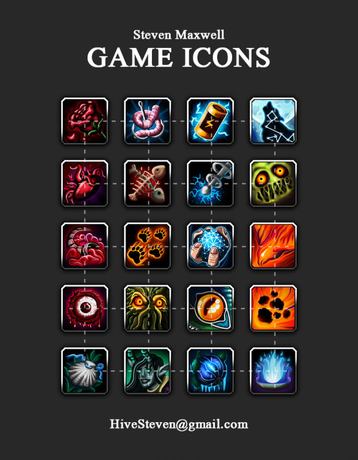 Game skill icons for RPG/MMO