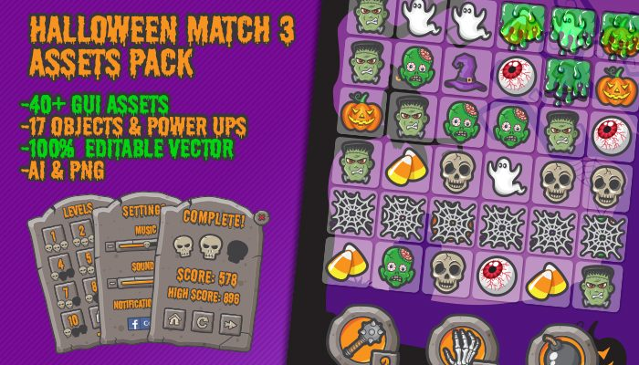 Spooky Crush – Halloween Match 3 Asset Pack